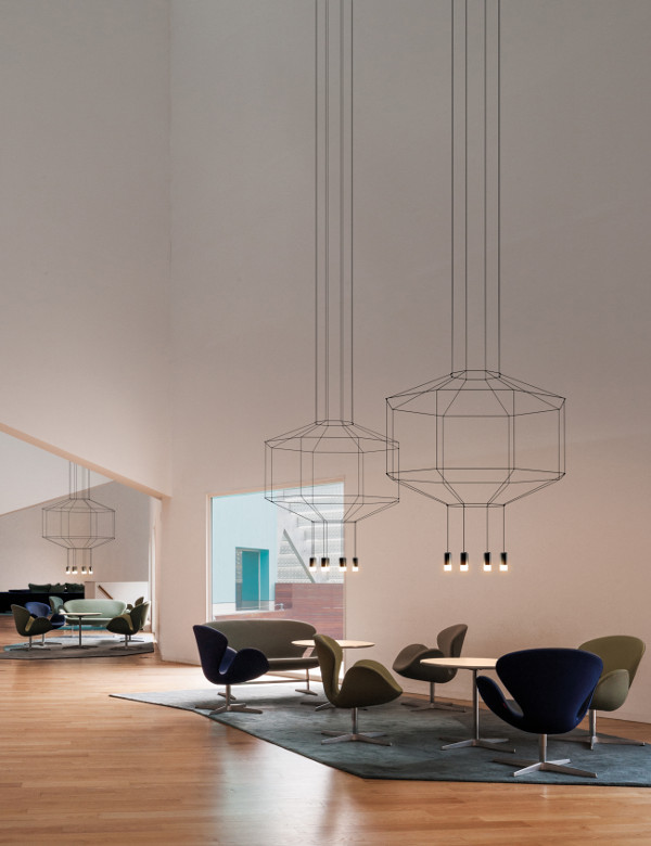 Pendants from lines in room