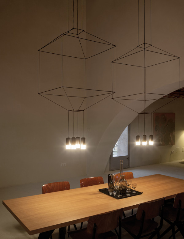Pendants made from lines in the restaurant