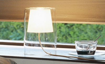 two glass made lamps